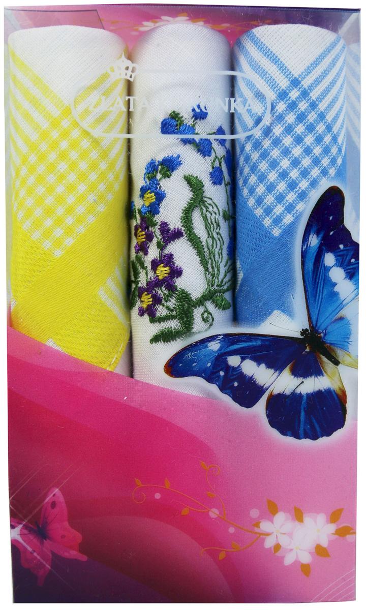 Платок носовой женский Zlata Korunka, цвет: мультиколор, 3 шт. 40423-81. Размер 28 х 28 см40423-81Платки носовые женские в упаковке по 3 шт. Носовые платки изготовлены из 100% хлопка, так как этот материал приятен в использовании, хорошо стирается, не садится, отлично впитывает влагу. Размер: 28 х 28..