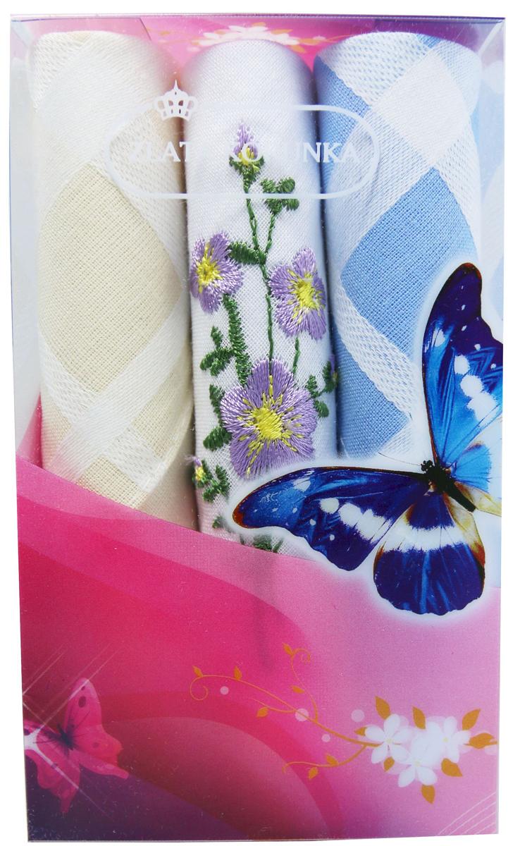 Платок носовой женский Zlata Korunka, цвет: мультиколор, 3 шт. 40423-83. Размер 28 х 28 см40423-83Платки носовые женские в упаковке по 3 шт. Носовые платки изготовлены из 100% хлопка, так как этот материал приятен в использовании, хорошо стирается, не садится, отлично впитывает влагу. Размер: 28 х 28..