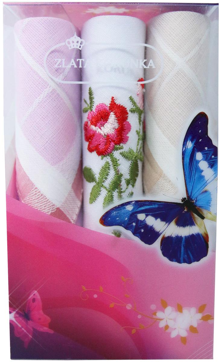 Платок носовой женский Zlata Korunka, цвет: мультиколор, 3 шт. 40423-85. Размер 28 х 28 см40423-85Платки носовые женские в упаковке по 3 шт. Носовые платки изготовлены из 100% хлопка, так как этот материал приятен в использовании, хорошо стирается, не садится, отлично впитывает влагу. Размер: 28 х 28..