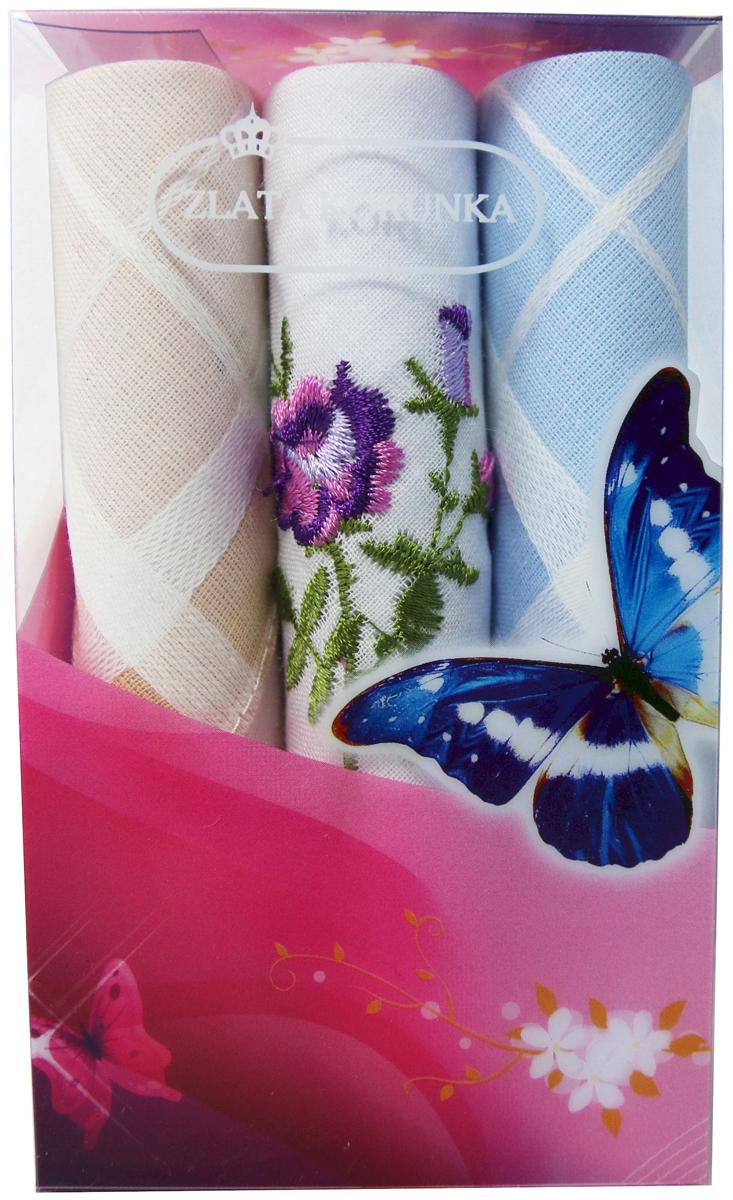 Платок носовой женский Zlata Korunka, цвет: мультиколор, 3 шт. 40423-86. Размер 28 х 28 см40423-86Платки носовые женские в упаковке по 3 шт. Носовые платки изготовлены из 100% хлопка, так как этот материал приятен в использовании, хорошо стирается, не садится, отлично впитывает влагу. Размер: 28 х 28..