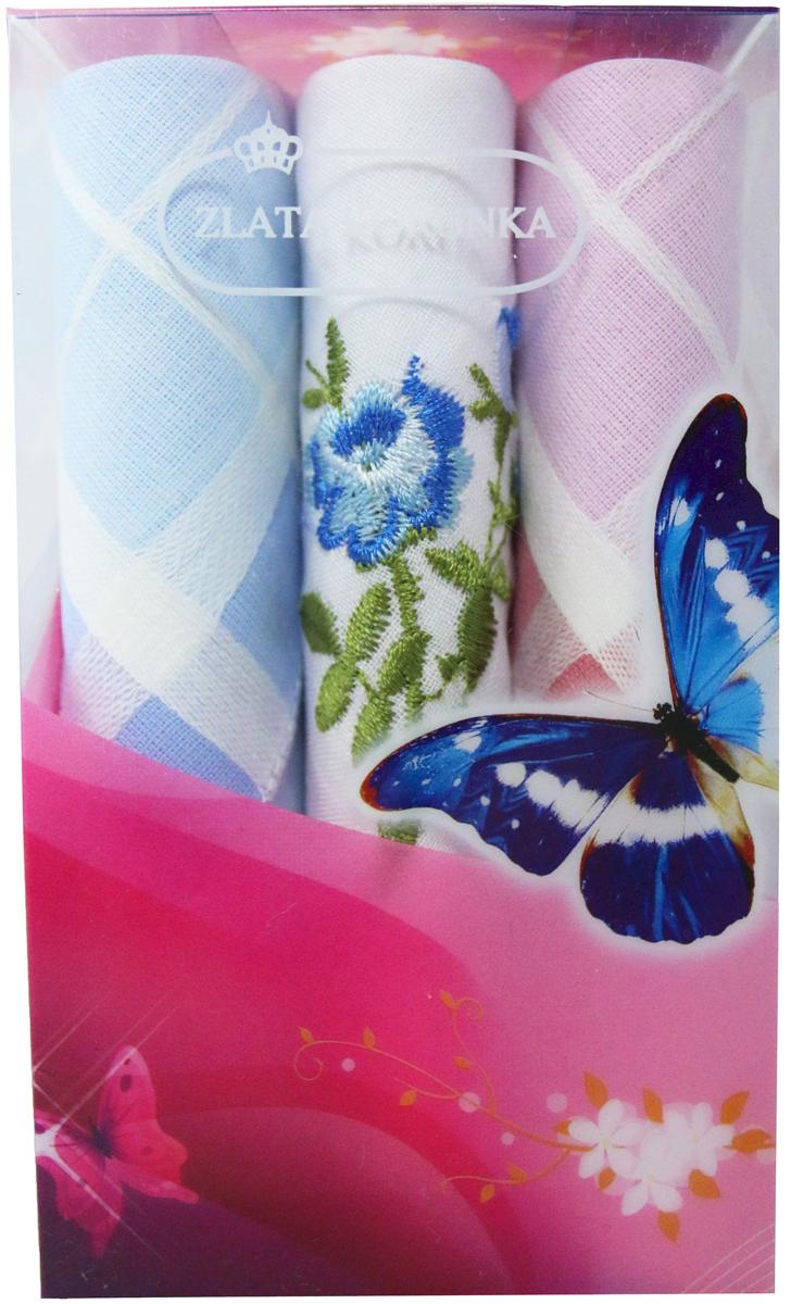 Платок носовой женский Zlata Korunka, цвет: мультиколор, 3 шт. 40423-87. Размер 28 х 28 см40423-87Платки носовые женские в упаковке по 3 шт. Носовые платки изготовлены из 100% хлопка, так как этот материал приятен в использовании, хорошо стирается, не садится, отлично впитывает влагу. Размер: 28 х 28..