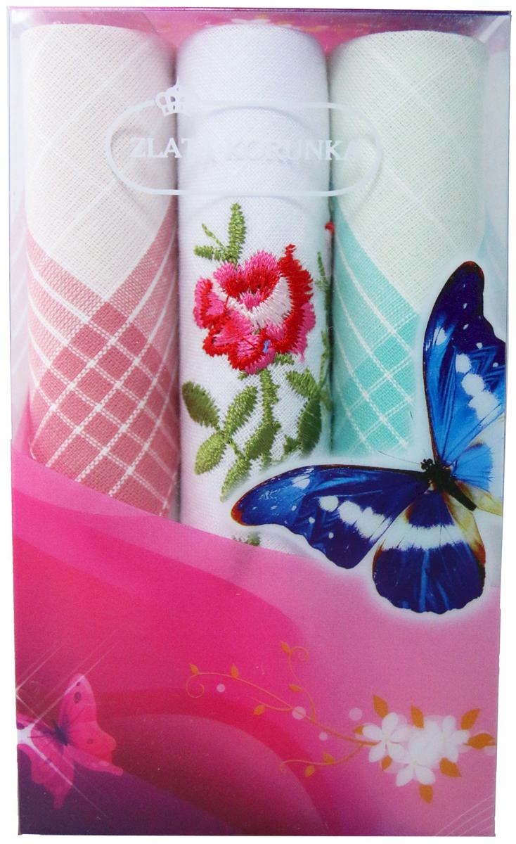 Платок носовой женский Zlata Korunka, цвет: мультиколор, 3 шт. 40423-89. Размер 28 х 28 см40423-89Платки носовые женские в упаковке по 3 шт. Носовые платки изготовлены из 100% хлопка, так как этот материал приятен в использовании, хорошо стирается, не садится, отлично впитывает влагу. Размер: 28 х 28..