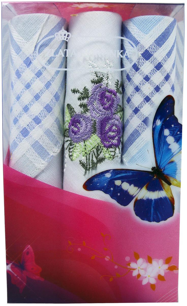 Платок носовой женский Zlata Korunka, цвет: мультиколор, 3 шт. 40423-9. Размер 28 х 28 см40423-9Платки носовые женские в упаковке по 3 шт. Носовые платки изготовлены из 100% хлопка, так как этот материал приятен в использовании, хорошо стирается, не садится, отлично впитывает влагу. Размер: 28 х 28..