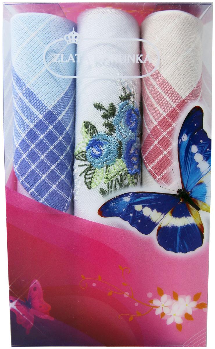 Платок носовой женский Zlata Korunka, цвет: мультиколор, 3 шт. 40423-91. Размер 28 х 28 см40423-91Платки носовые женские в упаковке по 3 шт. Носовые платки изготовлены из 100% хлопка, так как этот материал приятен в использовании, хорошо стирается, не садится, отлично впитывает влагу. Размер: 28 х 28..