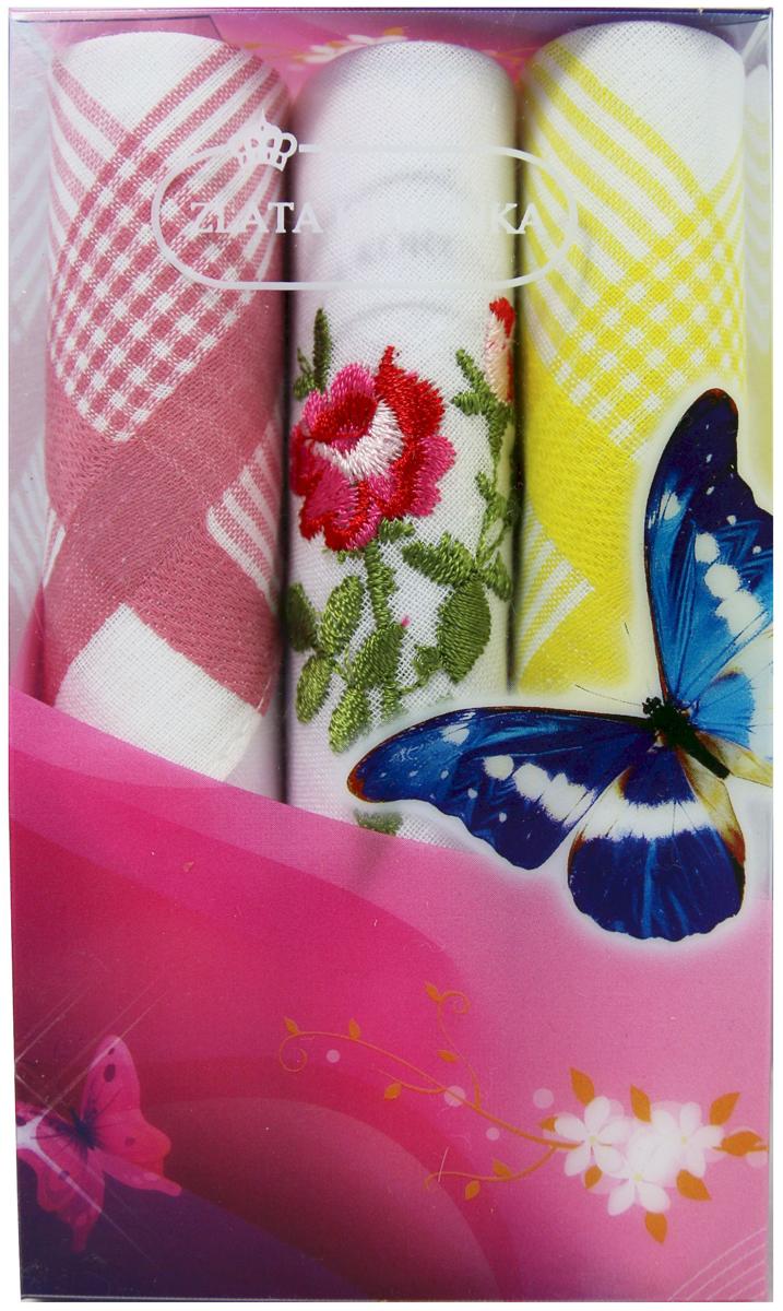 Платок носовой женский Zlata Korunka, цвет: мультиколор, 3 шт. 40423-92. Размер 28 х 28 см40423-92Платки носовые женские в упаковке по 3 шт. Носовые платки изготовлены из 100% хлопка, так как этот материал приятен в использовании, хорошо стирается, не садится, отлично впитывает влагу. Размер: 28 х 28..