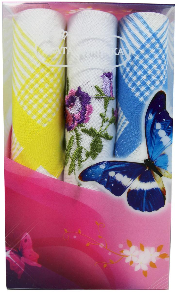 Платок носовой женский Zlata Korunka, цвет: мультиколор, 3 шт. 40423-93. Размер 28 х 28 см40423-93Платки носовые женские в упаковке по 3 шт. Носовые платки изготовлены из 100% хлопка, так как этот материал приятен в использовании, хорошо стирается, не садится, отлично впитывает влагу. Размер: 28 х 28..