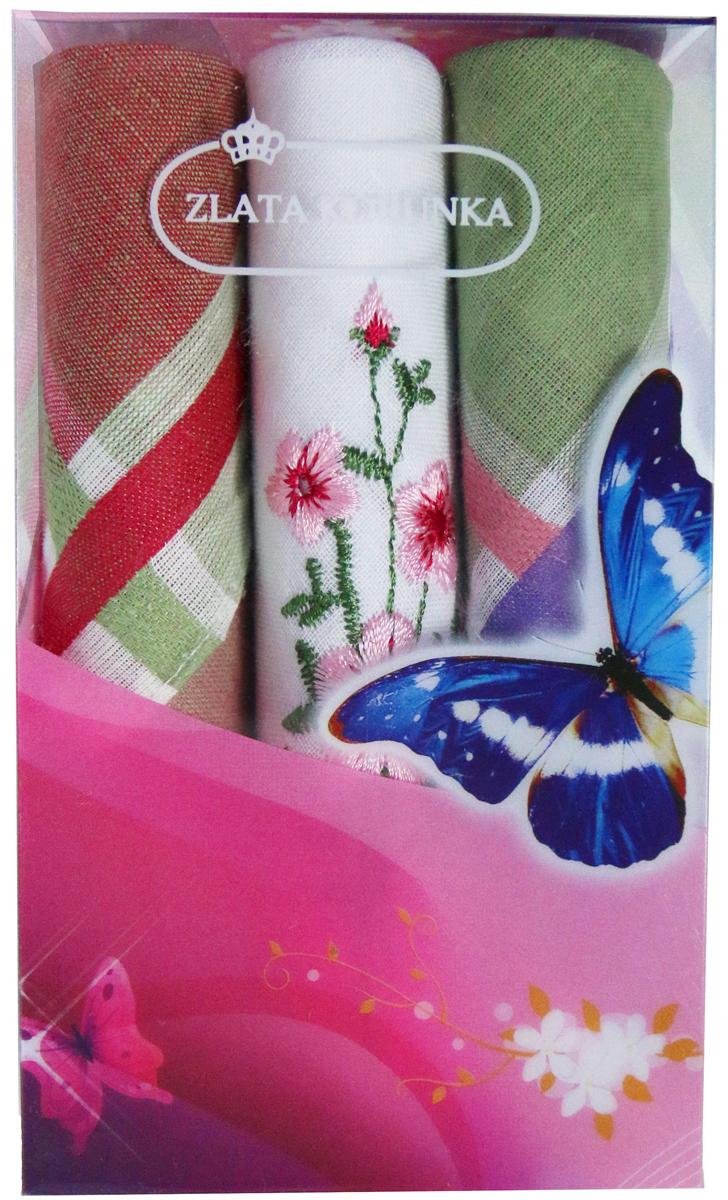Платок носовой женский Zlata Korunka, цвет: мультиколор, 3 шт. 40423-94. Размер 28 х 28 см40423-94Платки носовые женские в упаковке по 3 шт. Носовые платки изготовлены из 100% хлопка, так как этот материал приятен в использовании, хорошо стирается, не садится, отлично впитывает влагу. Размер: 28 х 28..