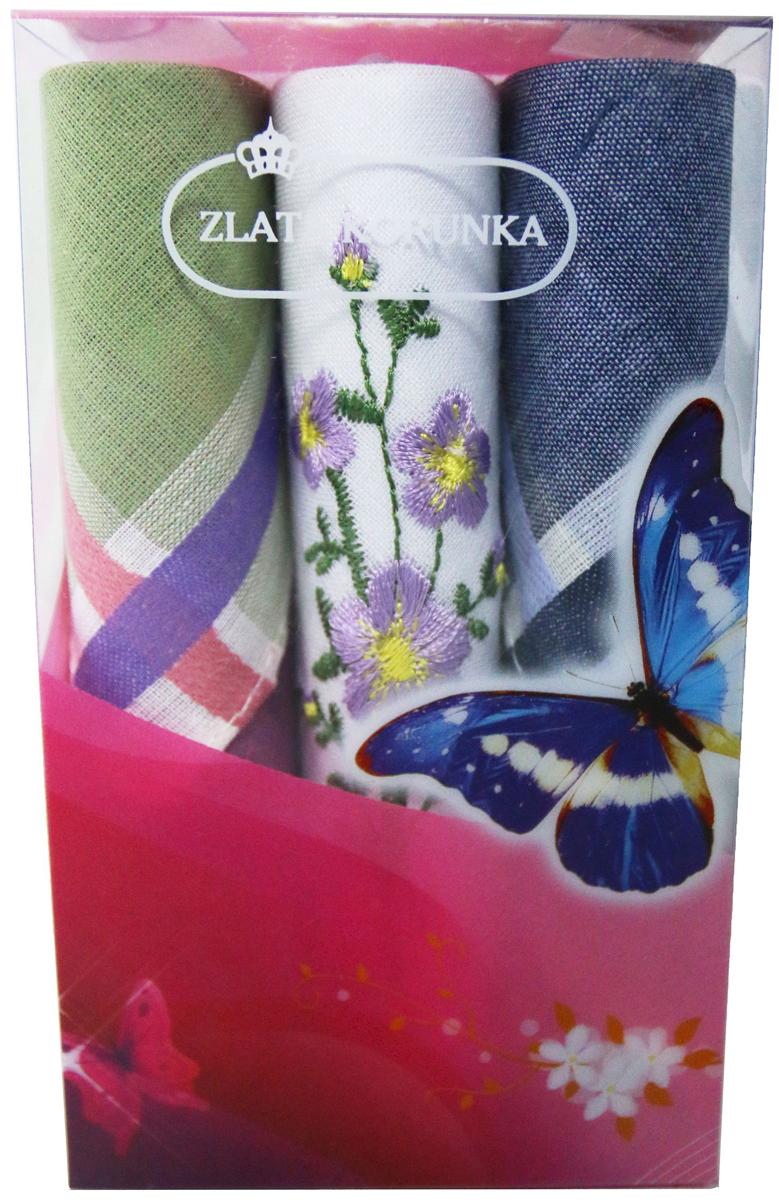 Платок носовой женский Zlata Korunka, цвет: мультиколор, 3 шт. 40423-95. Размер 28 х 28 см40423-95Платки носовые женские в упаковке по 3 шт. Носовые платки изготовлены из 100% хлопка, так как этот материал приятен в использовании, хорошо стирается, не садится, отлично впитывает влагу. Размер: 28 х 28..