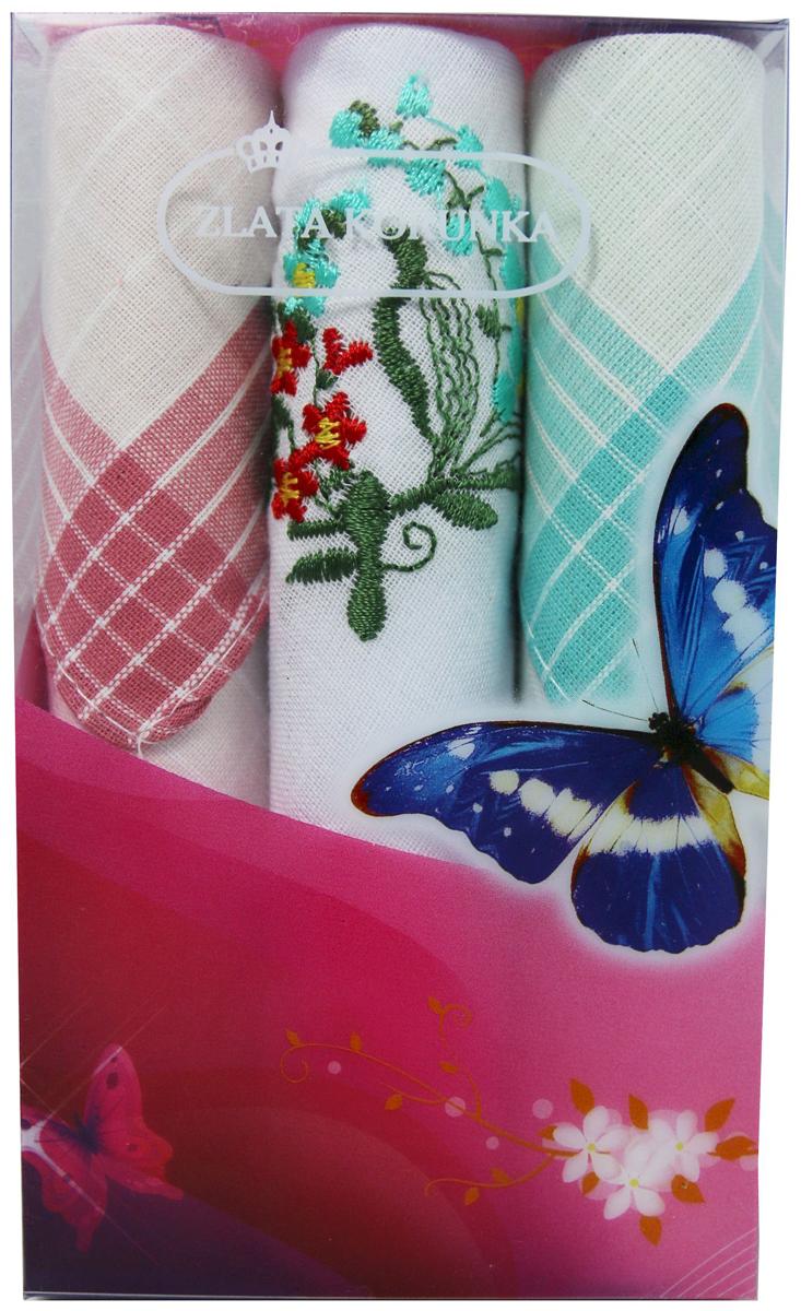 Платок носовой женский Zlata Korunka, цвет: мультиколор, 3 шт. 40423-97. Размер 28 х 28 см40423-97Платки носовые женские в упаковке по 3 шт. Носовые платки изготовлены из 100% хлопка, так как этот материал приятен в использовании, хорошо стирается, не садится, отлично впитывает влагу. Размер: 28 х 28..