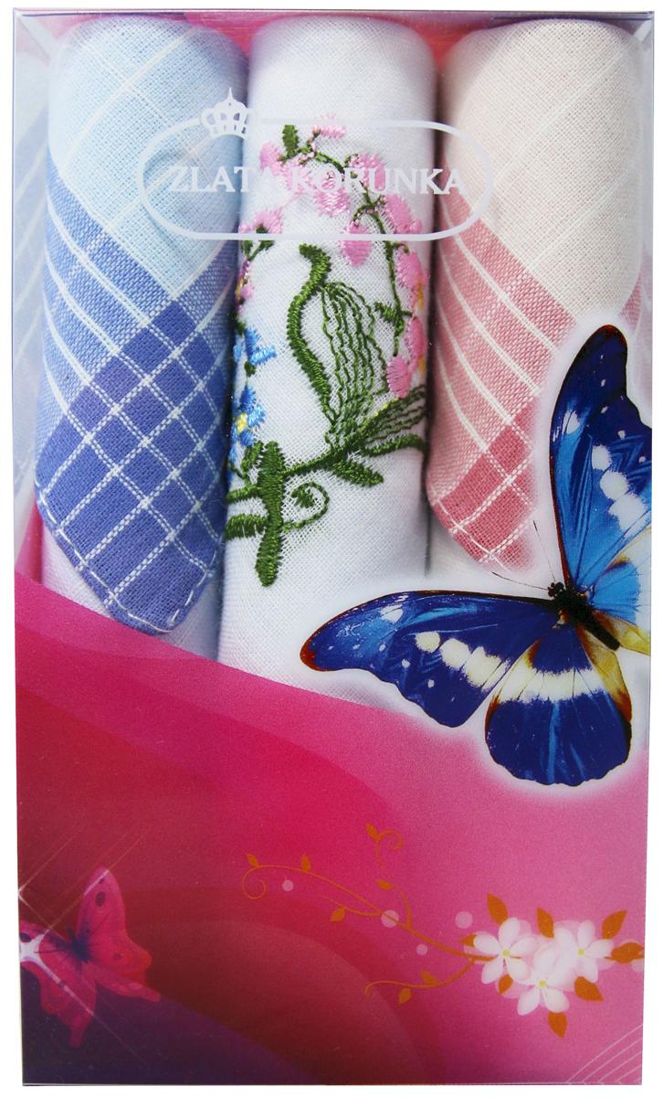 Платок носовой женский Zlata Korunka, цвет: мультиколор, 3 шт. 40423-98. Размер 28 х 28 см40423-98Платки носовые женские в упаковке по 3 шт. Носовые платки изготовлены из 100% хлопка, так как этот материал приятен в использовании, хорошо стирается, не садится, отлично впитывает влагу. Размер: 28 х 28..