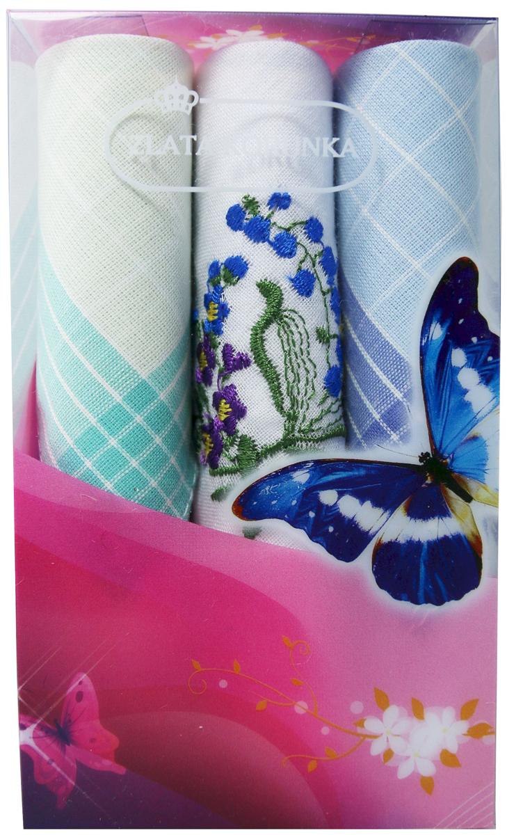 Платок носовой женский Zlata Korunka, цвет: бирюзовый, белый, голубой, 3 шт. 40423-99. Размер 28 см х 28 см40423-99Небольшой женский носовой платок Zlata Korunka изготовлен из высококачественного натурального хлопка, благодаря чему приятен в использовании, хорошо стирается, не садится и отлично впитывает влагу. Практичный и изящный носовой платок будет незаменим в повседневной жизни любого современного человека. Такой платок послужит стильным аксессуаром и подчеркнет ваше превосходное чувство вкуса. В комплекте 3 платка.