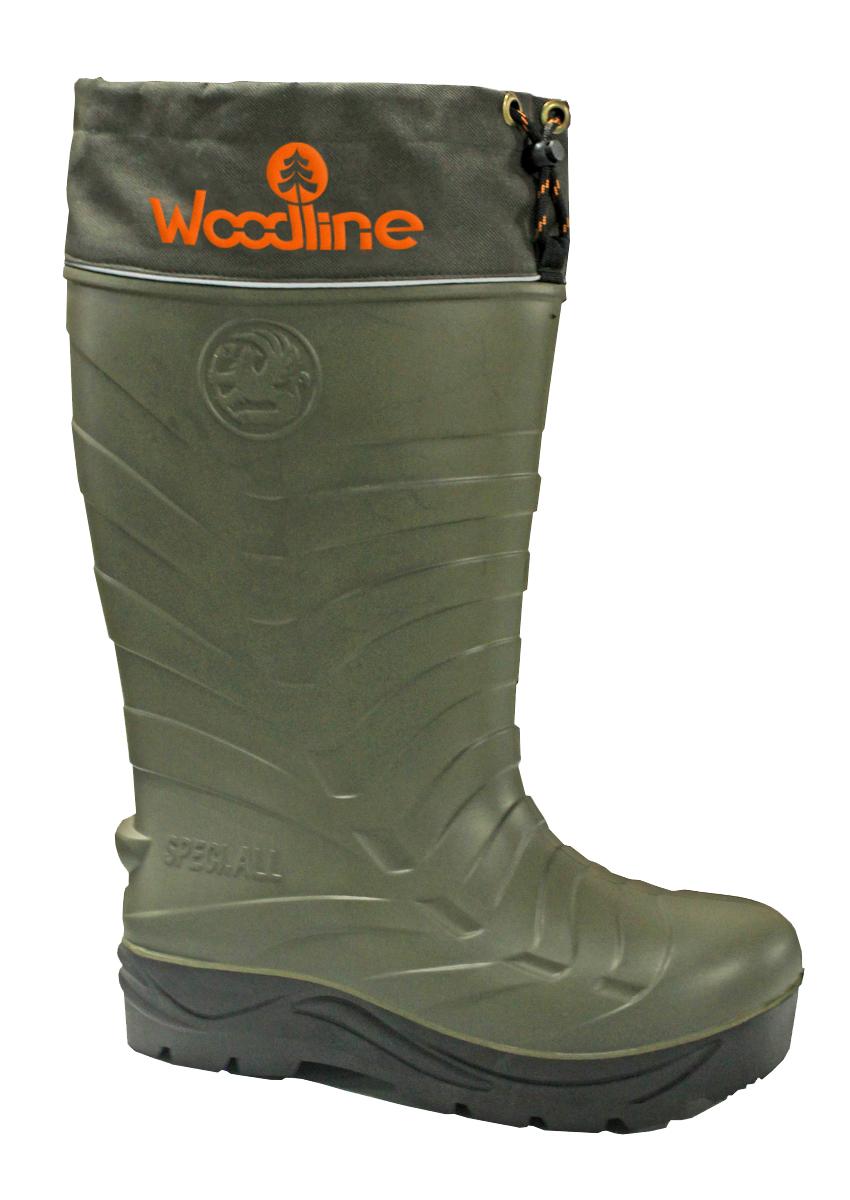 Сапоги зимние Woodline ЭВА с шипами, (-70), цвет: олива. Размер 42/4359296Сапог ЭВА (этиленвинилацетат). Это легкий и упругий материал, имеющий хорошие амортизирующие свойства, устойчивый к растворителям и маслам. Комплектуется 7-ми слойным утеплителем.