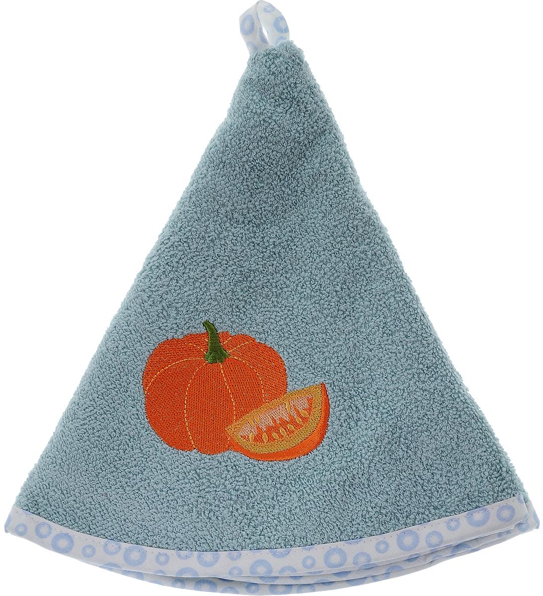Полотенце кухонное Karna Zelina. Тыква, цвет: серо-голубой, оранжевый, диаметр 50 см504/CHAR005Круглое кухонное полотенце Karna Zelina. Тыква изготовлено из 100% хлопка, поэтому является экологически чистым. Качество материала гарантирует безопасность не только взрослым, но и самым маленьким членам семьи. Изделие мягкое и пушистое, оснащено удобной петелькой и украшено оригинальной вышивкой. Кухонное полотенце Karna сделает интерьер вашей кухни стильным и гармоничным. Диаметр полотенца: 50 см.