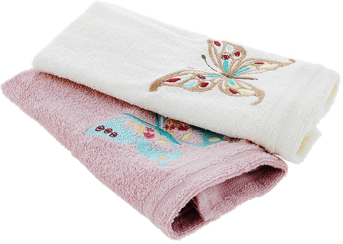Набор кухонных полотенец Karna Mоron, цвет: молочный, серо-розовый, 30 х 50 см, 2 шт718/CHAR001Набор Karna Mоron состоит из 2 прямоугольных полотенец, которые выполнены из высококачественного хлопка и украшены вышивкой. Изделия гипоаллергенны, отлично впитывают влагу, быстро сохнут, сохраняют цвет и не теряют форму даже после многократных стирок. Такие полотенца очень практичны и неприхотливы в уходе. Набор Karna станет отличным помощником и украсит интерьер вашей кухни.