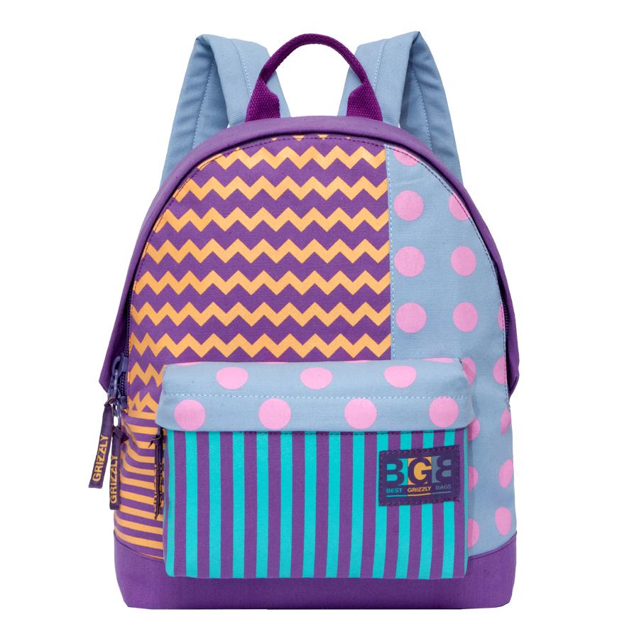 Рюкзак городской женский Grizzly, цвет: фиолетовый, мультиколор, 16 л. RD-750-3/3