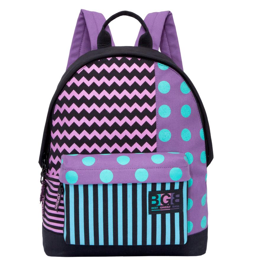 Рюкзак городской женский Grizzly, цвет: черный, сиреневый, бирюзовый, 16 л. RD-750-3/1