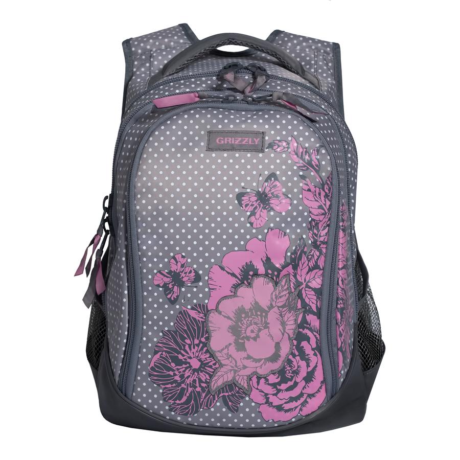 Рюкзак молодежный женский Grizzly, цвет: серый, розовый, 22 л. RD-742-1/1RD-742-1/1Рюкзак молодежный, три отделения, боковые карманы из сетки, внутренний карман на молнии, внутренний составной пенал-органайзер, укрепленная спинка, мягкая укрепленная ручка, укрепленные лямки