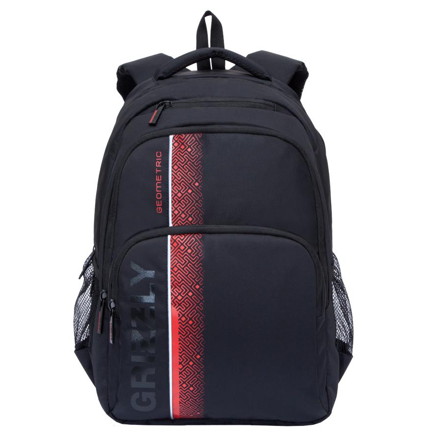 Рюкзак городской мужской Grizzly, цвет: черный, красный, 24 л. RU-707-1/1RU-707-1/1Рюкзак городской Grizzl выполнен из высококачественного полиэстера и оформлен оригинальным фирменным принтом. Рюкзак имеет петлю для подвешивания и две удобные лямки, длина которых регулируется с помощью пряжек. На лицевой стороне расположено два объемных кармана на молнии, один из которых содержит карман с сеткой на молнии и открытые накладные карманы для канцелярских принадлежностей. Также на лицевой стороне расположен небольшой карман на молнии для мелочей. Рюкзак оснащен двумя боковыми карманами на молнии. Изделие застегивается на застежку-молнию. Внутри расположено главное вместительное отделение, которое содержит вшитый карман на молнии для мелочей и отделение для ноутбука , которое закрывается хлястиком на застежку-липучку.