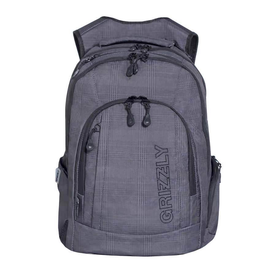 Рюкзак городской мужской Grizzly, цвет: темно-серый, 24 л. RU-701-1/2RU-701-1/2Рюкзак городской Grizzl выполнен из высококачественного плотного полиэстера и оформлен камуфляжным принтом. На лицевой стороне расположен карман на молнии, который содержит вшитый карман на молнии, два открытых накладных кармана для мелочей и четыре кармана для канцелярских принадлежностей. Также на лицевой стороне находится вместительный карман на молнии и вертикальный карман на молнии для мелочей. На тыльной стороне расположен вшитый вертикальный карман на молнии. Рюкзак оснащен двумя боковыми карманами для переноски бутылок с водой. Рюкзак имеет петлю для подвешивания и две удобные лямки, длина которых регулируется с помощью пряжек. Изделие закрывается на застежку-молнию. Внутри расположено главное вместительное отделение, которое содержит открытый мягкий карман для планшета.