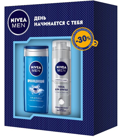 Nivea Подарочный набор Пена для бритья Серебряная защита 200 мл и Гель для душа Пробуждающий 250мл