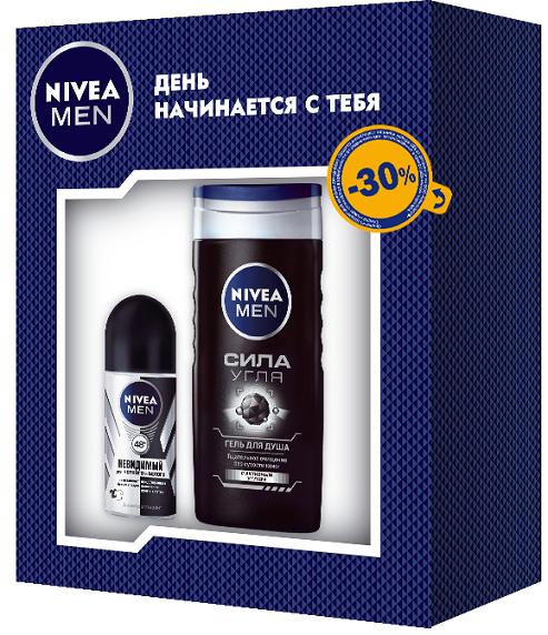 Nivea Подарочный набор Дезодорант шариковый Невидимая защита для черного и белого серии Nivea for Men 50мл и Гель для душа Сила угля 250 мл