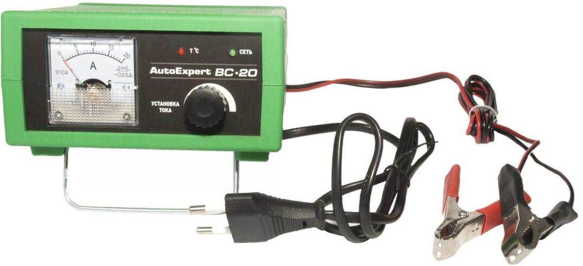 AutoExpert BC-20, Green зарядное устройство для автомобильных АКБBC-20Компактное зарядное устройство AutoExpert BC-20 для обслуживания и зарядки всех типов 12 вольтовых свинцовых аккумуляторных батарей, используемых в автомобилях и мототехнике. Функциональные особенности: Полностью автоматическая работа. Микропроцессорное управление. Стрелочный индикатор. Ручная установка тока зарядки. Совместимость со всеми типами свинцово-кислотных АКБ, включая необслуживаемые Защита от перегрева, перегрузки, неверного подключения, короткого замыкания Максимальный ток заряда: 15А Емкость заряжаемой батареи: 1,2-120Ah Режим зарядки: полностью автоматический Отсек для хранения проводов Удобная подставка Возможность использования в качестве блока питания с вых.напряжением 15В Температура использования: -10С…+45С