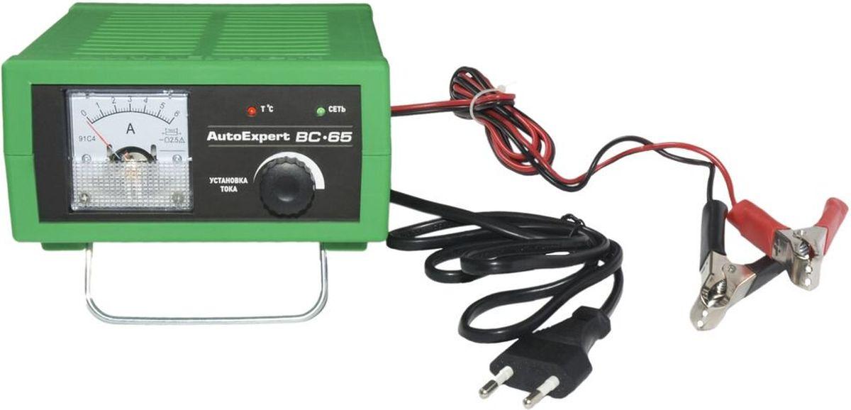 AutoExpert BC-65, Green зарядное устройство для автомобильных АКБBC-65Компактное зарядное устройство AutoExpert BC-65 для обслуживания и зарядки всех типов 12 вольтовых свинцовых аккумуляторных батарей, используемых в автомобилях и мототехнике. Функциональные особенности: Полностью автоматическая работа. Микропроцессорное управление. Стрелочный индикатор. Ручная установка тока зарядки. Совместимость со всеми типами свинцово-кислотных АКБ, включая необслуживаемые Защита от перегрева, перегрузки, неверного подключения, короткого замыкания Максимальный ток заряда: 6А Емкость заряжаемой батареи: 1,2-120Ah Режим зарядки: полностью автоматический Отсек для хранения проводов Удобная подставка Возможность использования в качестве блока питания с вых.напряжением 15В Температура использования: -10С…+45С