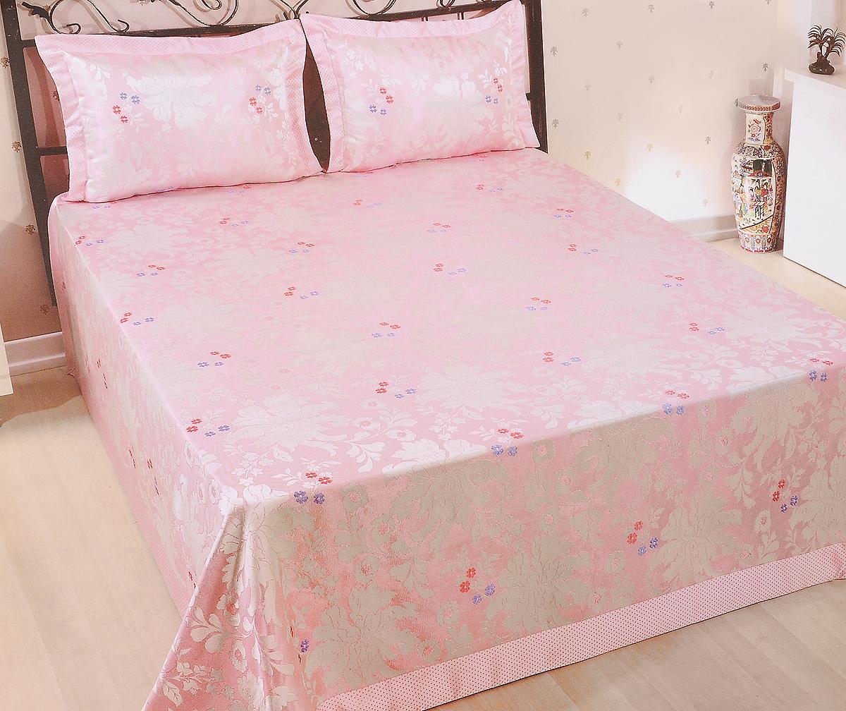 Комплект для спальни Nazsu Cinar: покрывало 240 х 260 см, 2 наволочки 50 х 70 см, цвет: светло-розовый, белый811/2/CHAR001Изысканный комплект для спальни Nazsu Cinar состоит из покрывала и двух наволочек. Изделия выполнены из высококачественного полиэстера (50%) и хлопка (50%), легкие, прочные и износостойкие. Ткань блестящая, что придает ей больше роскоши. Комплект Nazsu - это отличный способ придать спальне уют и комфорт, а также позволит по-королевски украсить интерьер. Размер покрывала: 240 х 260 см. Размер наволочки: 50 х 70 см. Уважаемые клиенты! Обращаем ваше внимание, что цвет отдельных элементов рисунка, может отличатся от заявленного на фото в интерьере. Цветовая гамма данного комплекта представлена в виде фрагментов на дополнительных фото.