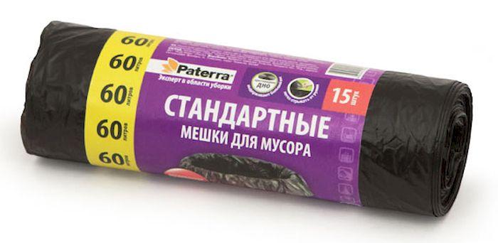 Мешки для мусора Paterra, цвет: черный, 60 л, 15 шт106-056Мешки Paterra, выполненные из высокопрочного и эластичного полиэтилена, обеспечат чистоту и гигиену в квартире. Они удобны для сбора и утилизации мусора, занимают мало места, практичны в использовании. Благодаря удобным размерам, мешки легко вкладываются в ведро. Количество: 15 шт. Размер мешка: 60 х 80 см.