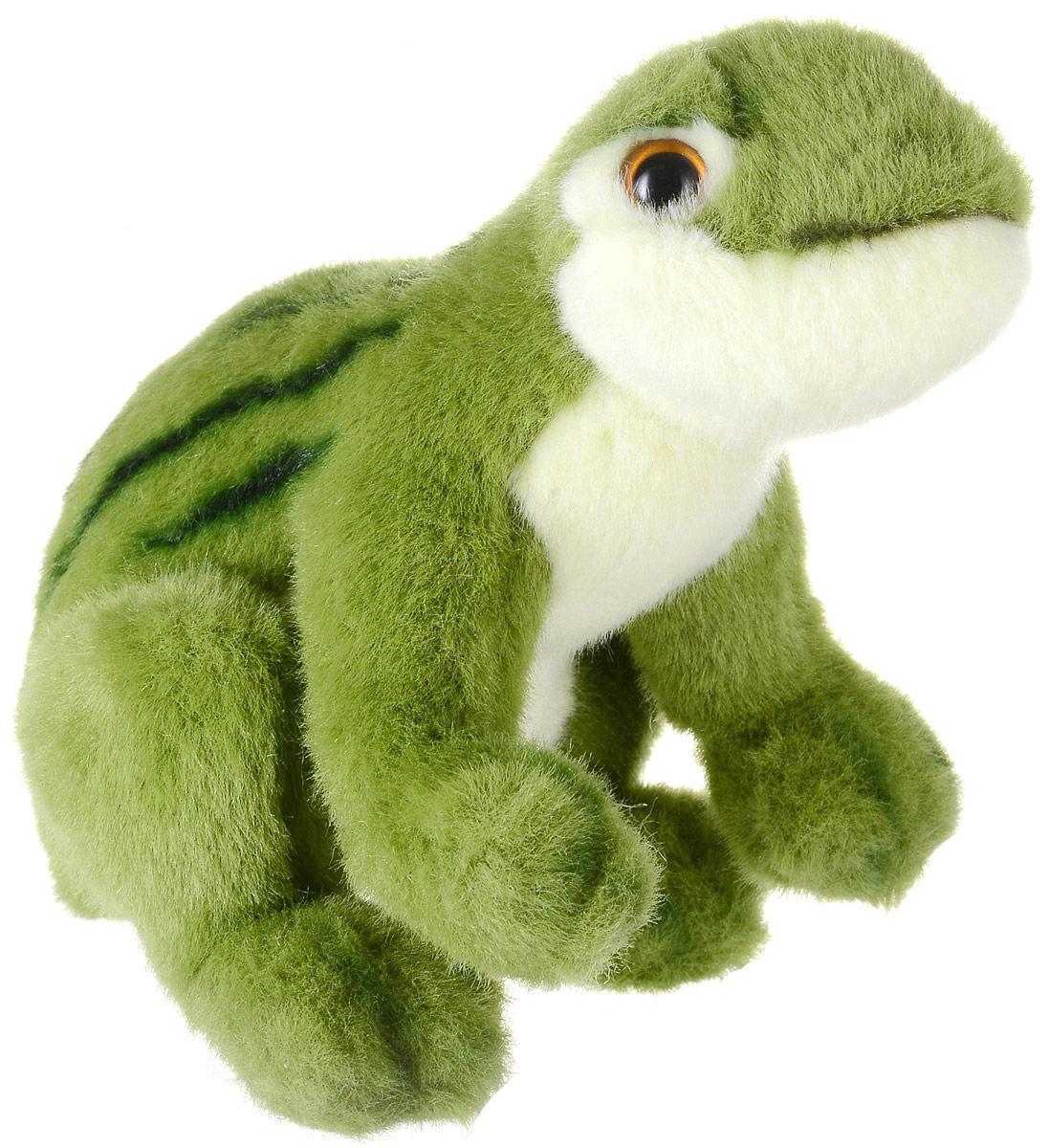 Hansa Toys Мягкая игрушка Зеленая лягушка 16 см1752Лягушки обладают уникальным среди позвоночных зрительным аппаратом. В ходе исследований было обнаружено, что почти 95% информации идет в рефлекторный отдел мозга. Это приводит к тому, что лягушка не видит, где она находится. Основной вывод - лягушки видят только движущиеся предметы. Некоторые виды живут только на суше (у них лишь оплодотворение происходит в воде), остальные же обитают в воде и на суше. Несколько видов ведут древесный образ жизни. Мягкая игрушка Hansa Toys Зеленая лягушка обязательно понравится вам и вашему малышу, а также познакомит вас с этим животным.