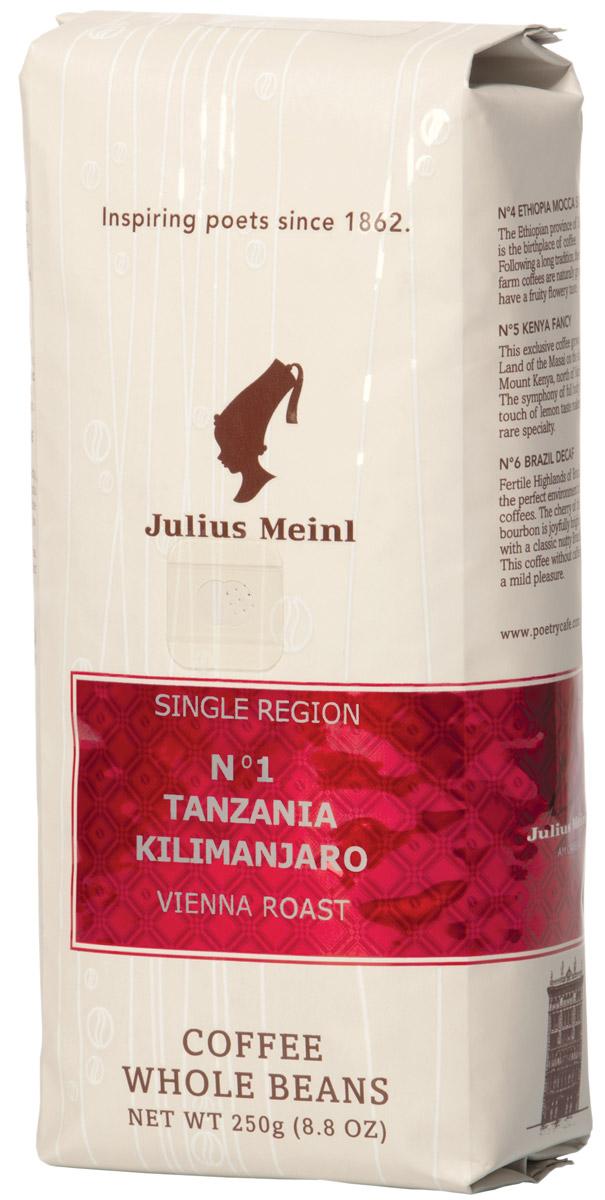 Julius Meinl № 1 Танзания Килиманджаро кофе в зернах, 250 г82028Кофе из восточной Африки, с потрясающим ароматом цитрусовых фруктов и жареного фундука, плотным телом и бархатистой текстурой.
