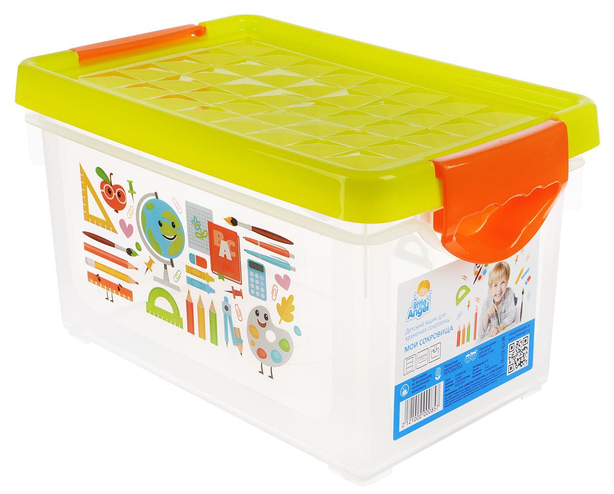 Little Angel Детский ящик для хранения игрушек Мои сокровища 5,1 лLA1052СЛДетский ящик для хранения игрушек Little Angel Мои сокровища - лучшее решение для поддержания порядка в детской. Яркие картинки наполнят детскую радостью и помогут приучить малыша к порядку. Эргономичные ручки-защелки ящика позволят малышу без труда открывать и переносить ящик. Оригинальная рифленая поверхность крышки ящика при касании активизирует мелкую моторику малыша. Декор размещен на двух сторонах ящика.