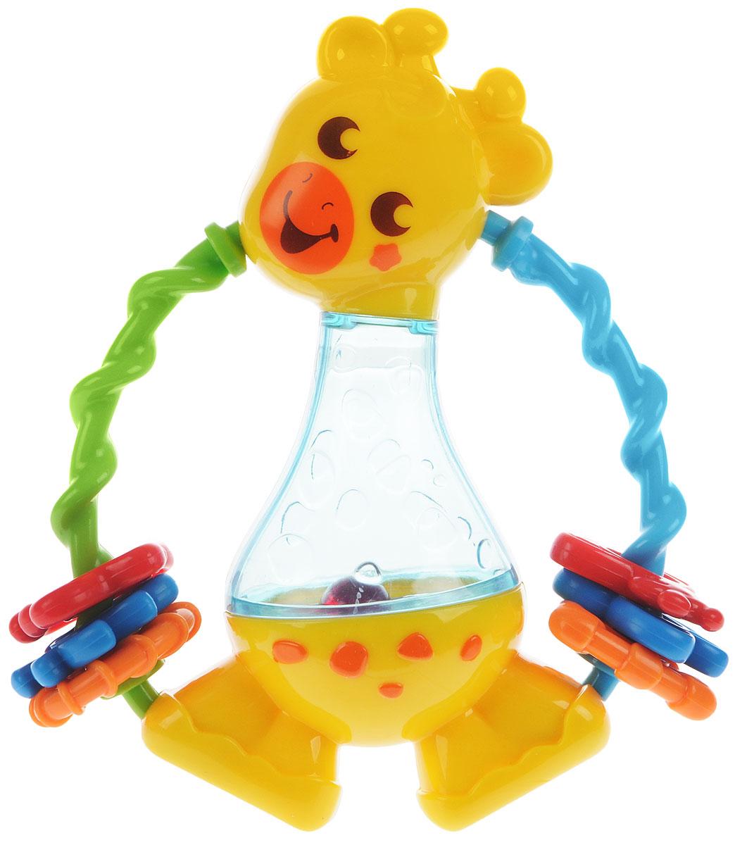Playgo Погремушка ЖирафPlay 1550Яркая погремушка Playgo Жираф изготовлена из высококачественного и прочного пластика, безопасного для детей. Это красивая и безопасная игрушка, которая подходит для детишек от 6 месяцев. Погремушка выполнена в виде приветливого жирафа со вставкой из прозрачного пластика в центре. Внутри этой вставки находится шарик. По бокам расположены спиралевидные ручки, на которые нанизаны фигурки различных цветов. Погремушка Playgo Жираф способствует развитию мелкой моторики, воображения, цветового и зрительного восприятия.