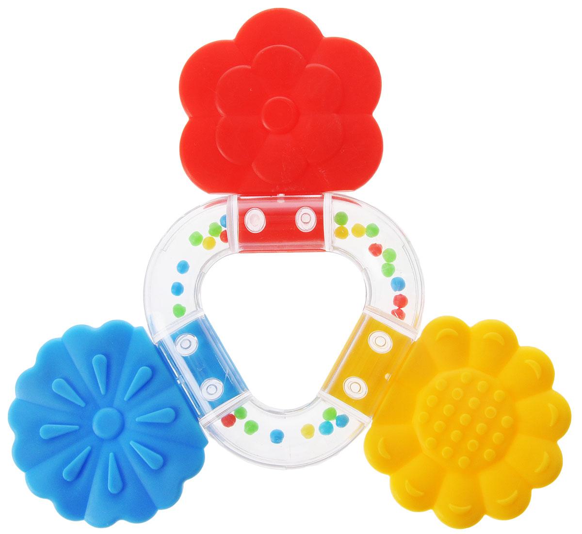 Stellar Погремушка-прорезыватель Букетик цвет желтый красный синий1563_желтый, красный, синийПрорезыватель - одна из важных игрушек на этапе младенчества. Он помогает разрабатывать жевательные навыки и мимику. Погремушка-прорезыватель Stellar Букетик - яркая и интересная игрушка, которая займет малютку на долгое время, а вам позволит отдохнуть. Центральная часть игрушки наполнена цветными шариками, которые шумят при встряхивании. Малыш с удовольствием будет исследовать новую форму, наслаждаясь красивыми цветами.