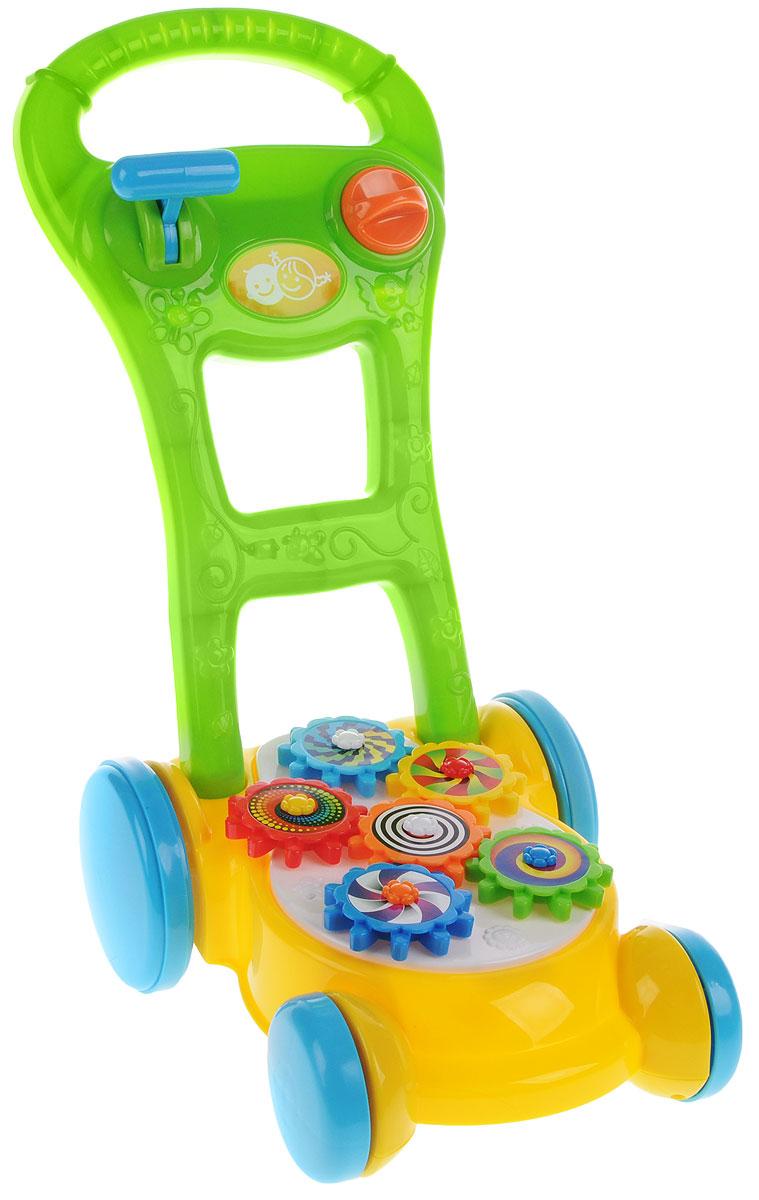 Playgo Игрушка-каталка Газонокосилка с шестеренкамиPlay 2578Игрушка-каталка Playgo, выполненная в форме газонокосилки, может использоваться как ходунки для малыша, совершающего первые неуверенные самостоятельные шаги. Ребенку нужно будет лишь, держась за удобную ручку каталки, толкать ее перед собой и шагать следом. Благодаря четырем колесикам модель устойчивая, благодаря чему родители могут быть уверены, что она не перевернется. На каталке расположены яркие шестеренки, которые двигаются, когда ребенок толкает газонокосилку. Трещотки на ручке сделают игру еще более веселой. Игрушка поможет развить координацию движения, тактильные навыки и мелкую моторику рук ребенка, а издаваемые звуки будут активно стимулировать слух малыша.