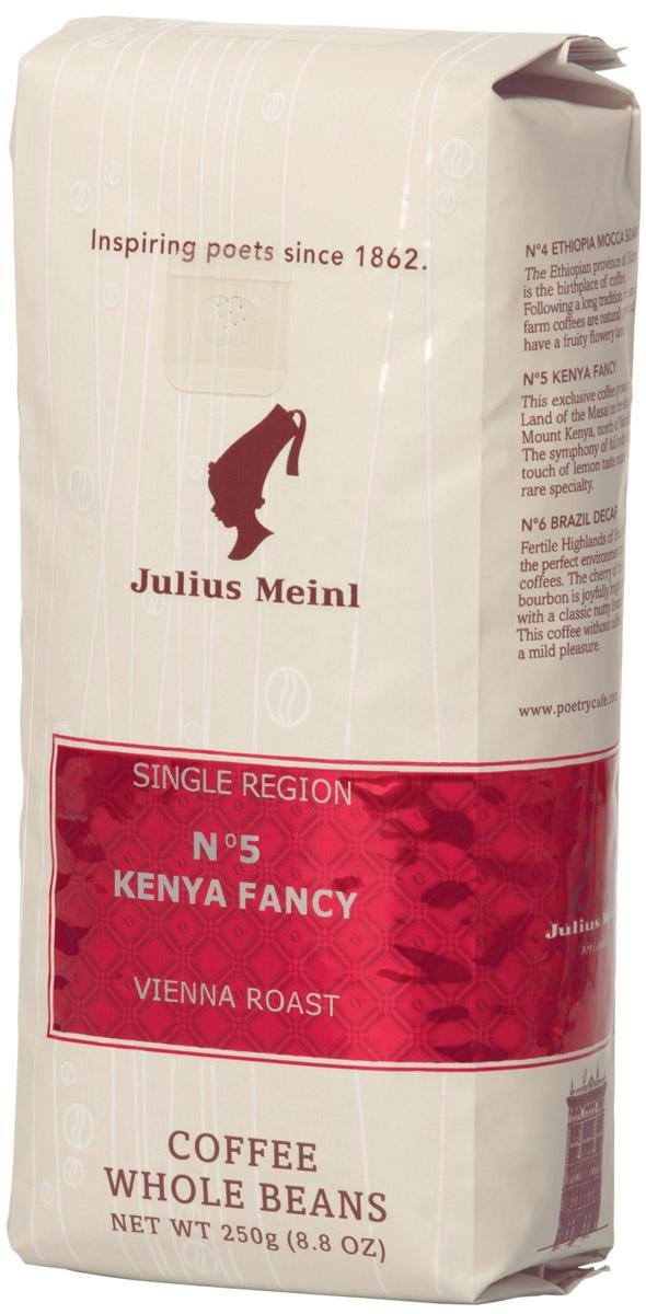 Julius Meinl № 5 Кения Фэнси кофе в зернах, 250 г82032Легкие ноты экзотических фруктов во вкусе, благородная кислинка спелых цитрусов и карамельное послевкусие.