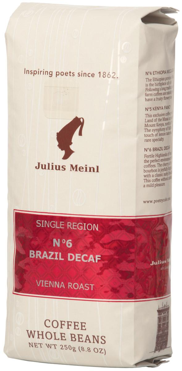 Julius Meinl № 6 Бразилия Декаф кофе в зернах, 250 г82033Сорт кофе из Южной Америки с пониженным содержанием кофеина. Во вкусе и аромате чувствуются яркие ореховые нотки. В послевкусии - молочный шоколад.