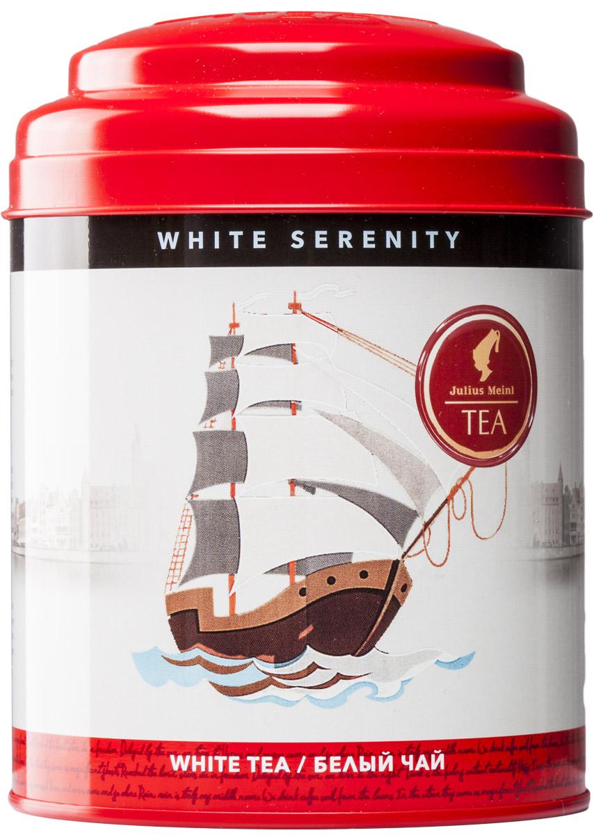 Julius Meinl Безмятежность белый листовой чай с серебряными типсами, 50 г86898Белый парус на фоне бескрайнего голубого неба, острый нос рассекает морскую гладь — корабль спешит вовремя доставить драгоценный чайный груз. Белый чай – жемчужина Гималайских гор. Легкие и пушистые молодые чайные листочки, как паруса, раздуваемые ветром, помогут вам выбрать правильный курс в жизни, а упоительный аромат придаст сил для новых свершений.