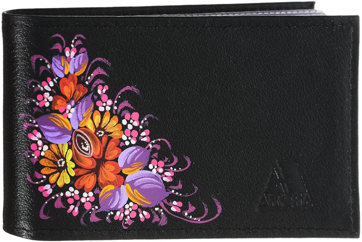 Кредитница женская Феодора Цветочная миниатюра, цвет: черный. Ручная роспись. КО-ТМКО-ТМЖенская горизонтальная кредитница Феодора Цветочная миниатюра выполнена из натуральной кожи и расписана вручную. Внутри содержится блок из прозрачного пластика на 18 пластиковых карт и два боковых кармана.