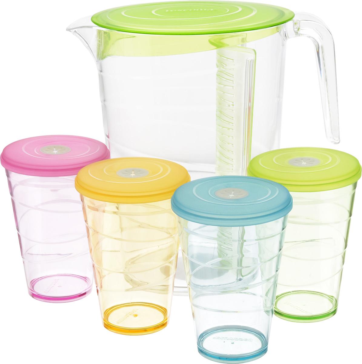 Набор питьевой Tescoma My Drink, цвет: зеленый, 9 предметов308802.25Набор питьевой Tescoma My Drink - великолепное решение для летних прохладительных напитков! Набор состоит из кувшина и 4 стаканов. Для изготовления кувшина и стаканов используется первоклассный нетоксичный пластик, пригодный для долгосрочного контакта с пищевыми продуктами и не содержащий химических добавок. Кувшин оснащен специальной перегородкой для фруктов и листьев мяты, которая позволяет не допускать смешивания с основной жидкостью в кувшине. Это избавит вас от дополнительной фильтрации лимонада. Перегородку удобно снимать и чистить. В комплект входят 4 стакана разного цвета, каждый из которых оснащен крышкой с гибким отверстием для соломинки. Можно мыть в посудомоечной машине на щадящих программах, выдерживает температуру до 60°С. Размер кувшина (по верхнему краю): 12 х 18 см. Высота кувшина: 23 см. Объем кувшина: 2,5 л. Диаметр стакана (по верхнему краю): 8,5 см. Высота стакана: 12 см. Объем стакана: 400...