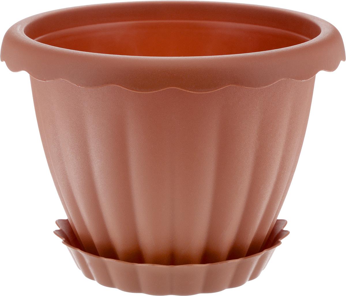 Кашпо Idea Далия, с поддоном, цвет: терракотовый, 3,5 лМ 8382Кашпо Idea Далия изготовлено из высококачественного пластика. Специальный поддон предназначен для стока воды. Изделие прекрасно подходит для выращивания растений и цветов в домашних условиях. Лаконичный дизайн впишется в интерьер любого помещения. Диаметр поддона: 17 см. Диаметр кашпо по верхнему краю: 22 см. Высота кашпо: 18 см. Объем кашпо: 3,5 л.