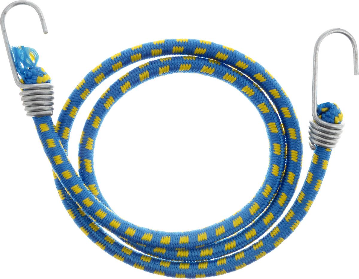 Резинка багажная МастерПроф, с крючками, цвет: синий, желтый, 1 х 110 смAC.020023_синий, желтыйБагажная резинка МастерПроф, выполненная из синтетического каучука, оснащена специальными металлическими крючками, которые обеспечивают прочное крепление и не допускают смещения груза во время его перевозки. Изделие применяется для закрепления предметов к багажнику. Такая резинка позволит зафиксировать как небольшой груз, так и довольно габаритный. Температура использования: -15°C до +50°C. Безопасное удлинение: 60%. Диаметр резинки: 1 см. Длина резинки: 110 см.