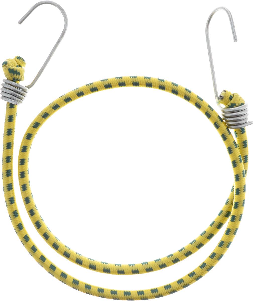 Резинка багажная МастерПроф, с крючками, цвет: желтый, изумрудный, 0,6 х 80 см. АС.020021АС.020021_желтый, изумрудныйБагажная резинка МастерПроф, выполненная из синтетического каучука, оснащена специальными металлическими крючками, которые обеспечивают прочное крепление и не допускают смещения груза во время его перевозки. Изделие применяется для закрепления предметов к багажнику. Такая резинка позволит зафиксировать как небольшой груз, так и довольно габаритный. Материал: синтетический каучук. Температура использования: -15°C до +50°C. Безопасное удлинение: 60%. Диаметр резинки: 0,6 см. Длина резинки: 80 см.
