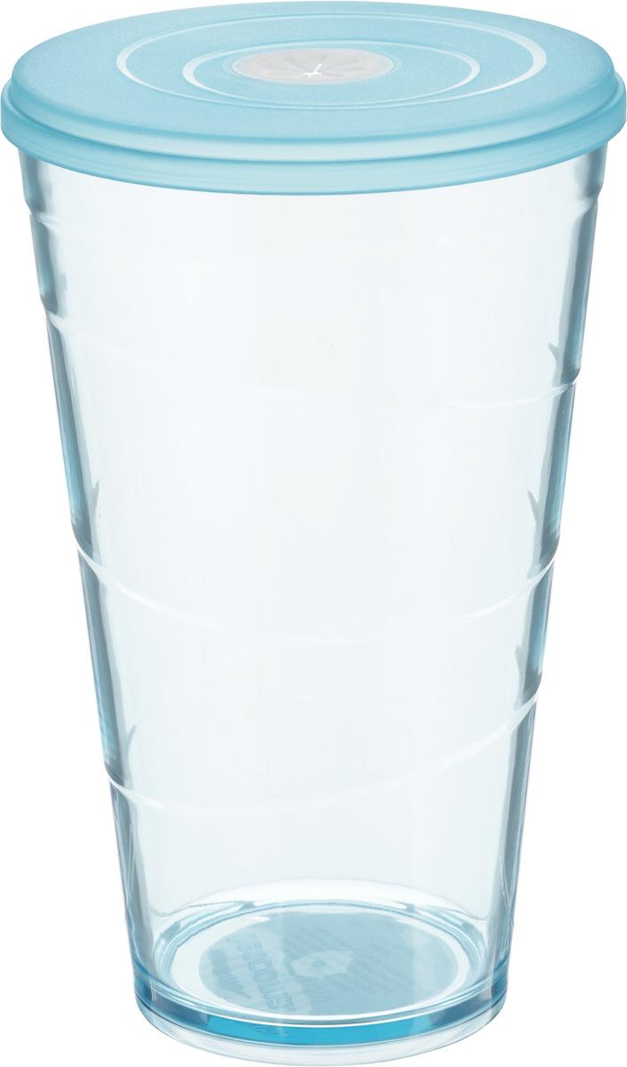 Стакан Tescoma My Drink, с крышкой, цвет: голубой, 600 мл308806.30Стакан Tescoma My Drink выполнен из нетоксичного прочного пластика и абсолютно безопасен в ежедневном использовании. Проверенная технология европейского производства обеспечивает безопасность даже при долгом соприкосновении с пищевыми продуктами или жидкостями. В крышке имеется гибкое отверстие для соломинки. Можно мыть в посудомоечной машине на щадящих программах, выдерживает температуру до 60°С. Диаметр стакана (по верхнему краю): 10 см. Высота стакана: 16 см. Объем стакана: 600 мл.