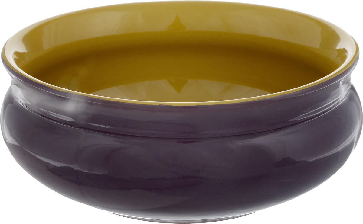 Тарелка глубокая Борисовская керамика Скифская, цвет: фиолетовый, горчичный, 800 млРАД14457937_фиолетовыйГлубокая тарелка Борисовская керамика Скифская выполнена из высококачественной керамики. Изделие сочетает в себе изысканный дизайн с максимальной функциональностью. Она прекрасно впишется в интерьер вашей кухни и станет достойным дополнением к кухонному инвентарю. Тарелка Борисовская керамика Скифская подчеркнет прекрасный вкус хозяйки и станет отличным подарком. Можно использовать в духовке и микроволновой печи. Диаметр тарелки (по верхнему краю): 16 см. Объем: 800 мл.