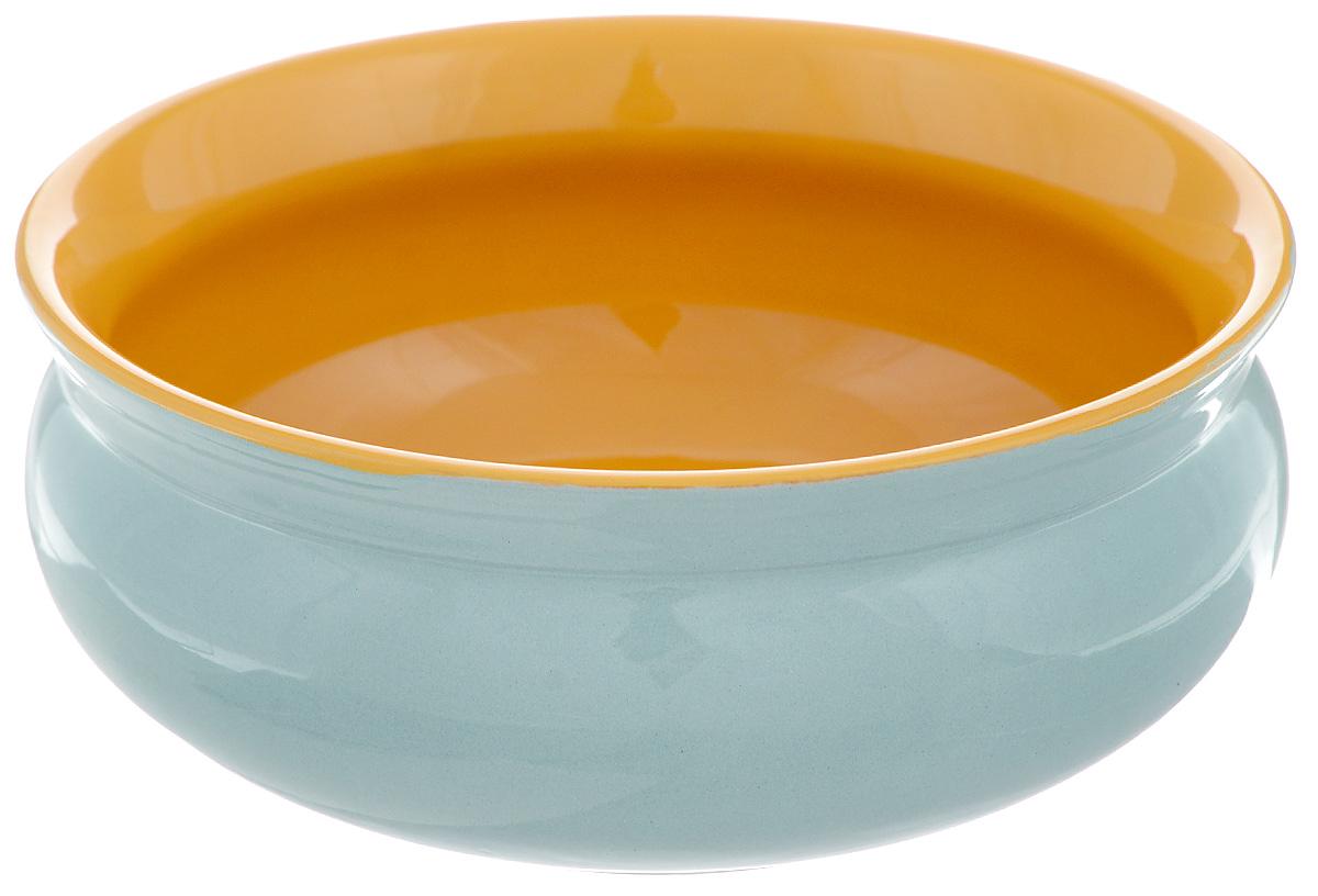 Тарелка глубокая Борисовская керамика Скифская, цвет: бирюзовый, желтый, 500 млРАД14458194_бирюзовыйГлубокая тарелка Борисовская керамика Скифская выполнена из керамики. Изделие сочетает в себе изысканный дизайн с максимальной функциональностью. Она прекрасно впишется в интерьер вашей кухни и станет достойным дополнением к кухонному инвентарю. Такая тарелка подчеркнет прекрасный вкус хозяйки и станет отличным подарком. Можно использовать в духовке и микроволновой печи. Диаметр тарелки (по верхнему краю): 14 см. Объем: 500 мл.