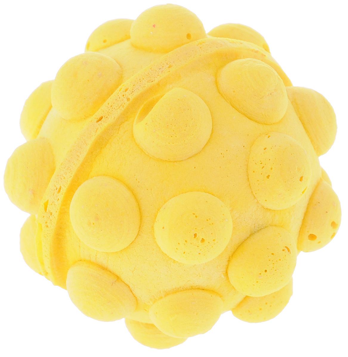 "Игрушка для животных Каскад ""Мячик зефирный. Мина"", цвет: желтый, диаметр 4,5 см 27799309_желтый"
