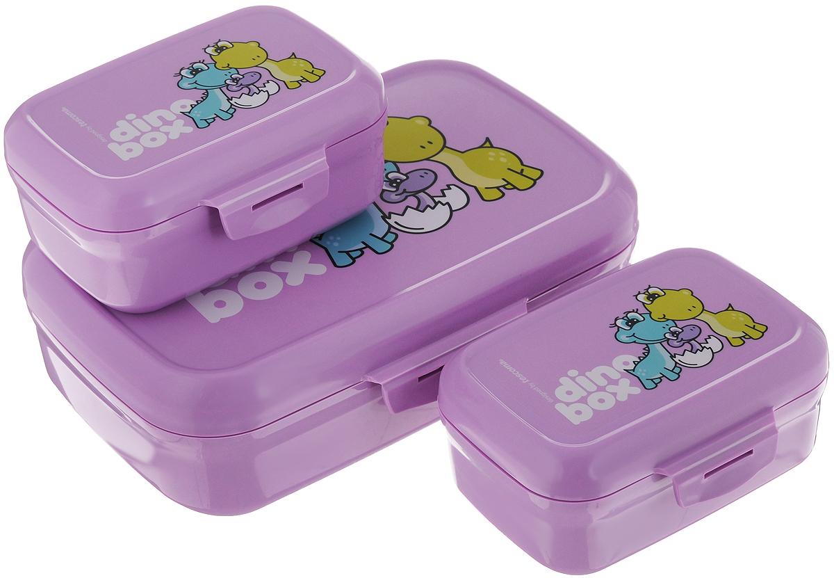 Набор контейнеров Tescoma Dino, цвет: фиолетовый, 3 шт668330.23Если вы сторонники здорового образа жизни, тогда вы по достоинству оцените новые контейнеры Tescoma Dino. Они сделаны из сертифицированного материала, легкие и удобные в использовании, а также выполнены в веселом дизайне, который обязательно оценят дети. Это три емкости предназначены для упаковки и дальнейшей переноске закусок и легких обедов в школу, в поездку, на тренировку. Самая большая емкость может быть использована для основного приема пищи, а маленькие баночки для фруктов, овощей и различных салатов. Материал, из которых изготовлены пластиковые емкости Tescoma Dino, прошли через десятки строгих тестов и гарантированно не содержат опасные и вредные вещества. Две небольших емкости легко помещаются в самую большую, что экономит пространство в портфеле вашего ребенка или в домашних условиях. На контейнерах выполнена качественная печать изображения динозавров, которая отлично сохраняется даже во время интенсивной мойки посуды. ...