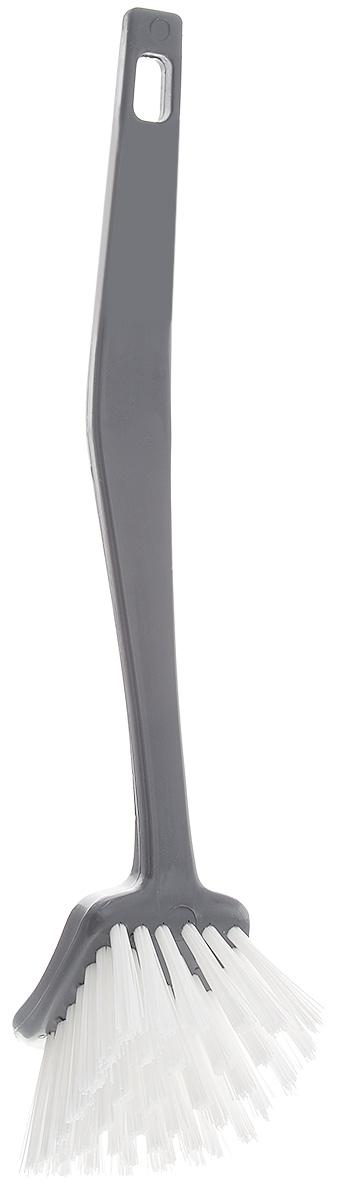 Щетка для посуды Banat Color, квадратная, цвет: серый, длина 26 см731096_серыйЩетка для посуды Banat Color с щетиной средней жесткости специально предназначена для удаления остатков пригоревшей пищи и сложных загрязнений. Щетка оснащена удобной нескользящей ручкой. Изгиб ручки позволяет мыть посуду любой формы и размеров. Щетка термостойкая - выдерживает температуру до +120°С. На ручке имеется отверстие для подвеса. Размер рабочей поверхности: 5,5 х 7 см. Длина щетины: 3 см. Длина щетки: 26 см.