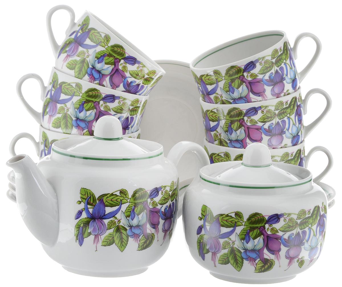 Сервиз чайный Фарфор Вербилок Август. Фуксия, 14 предметов4571720Чайный сервиз Фарфор Вербилок Август. Фуксия состоит из 6 чашек, 6 блюдец, сахарницы и заварочного чайника. Изделия выполнены из высококачественного фарфора и оформлены цветочным рисунком. Изящный чайный сервиз прекрасно оформит стол к чаепитию и порадует вас элегантным дизайном и качеством исполнения. Объем чайника: 600 мл. Высота чайника (без учета крышки): 10,5 см. Диаметр чайника (по верхнему краю): 6,5 см. Высота сахарницы (без учета крышки): 8,5 см. Диаметр сахарницы (по верхнему краю): 6,5 см. Объем сахарницы: 500 мл. Объем чашки: 300 мл. Диаметр чашки (по верхнему краю): 8,5 см. Высота чашки: 6 см. Диаметр блюдца: 14 см. Высота блюдца: 2,3 см.